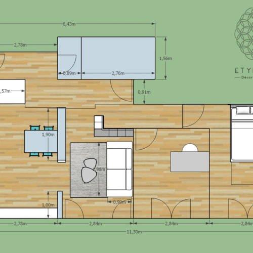 renovation et décoration d'un appartement cosy de 70m2 par Etymodéco, Décoratrice à Saint Louis en Alsace : plan et distribution