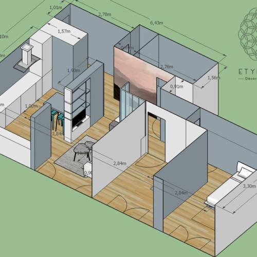 renovation et décoration d'un appartement cosy de 70m2 par Etymodéco, Décoratrice à Saint Louis en Alsace : perspective 3d