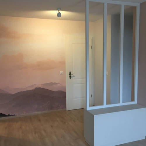 renovation et décoration d'un appartement cosy de 70m2 par Etymodéco, Décoratrice à Saint Louis en Alsace : vue entré avec panoramique
