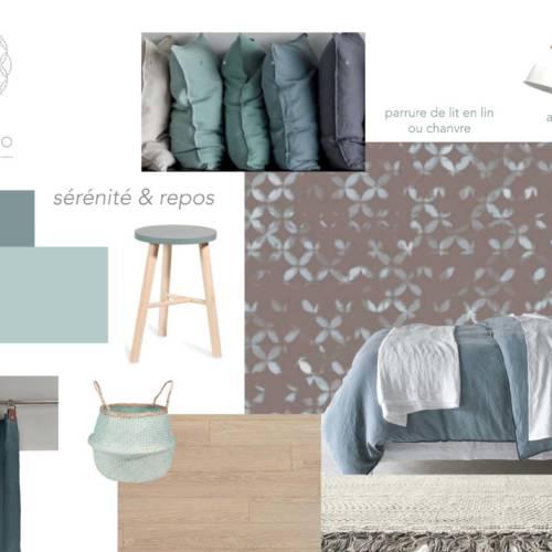 renovation et décoration d'un appartement cosy de 70m2 par Etymodéco, Décoratrice à Saint Louis en Alsace : planche ambiance chambre