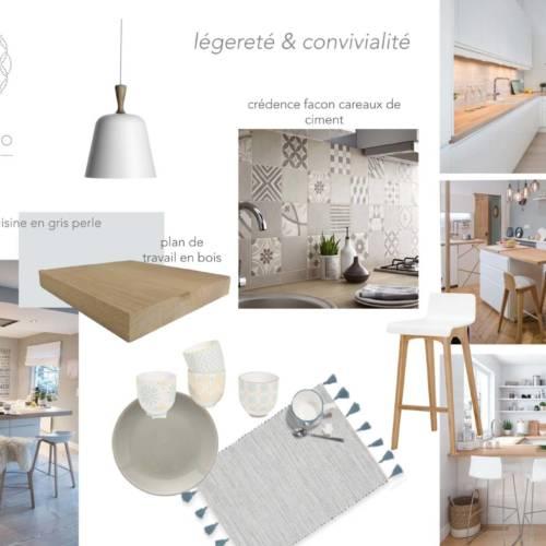 renovation et décoration d'un appartement cosy de 70m2 par Etymodéco, Décoratrice à Saint Louis en Alsace : planche ambiance cuisine