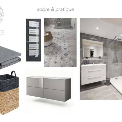 renovation et décoration d'un appartement cosy de 70m2 par Etymodéco, Décoratrice à Saint Louis en Alsace : planche ambiance salle de bain