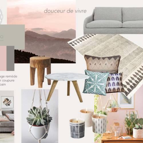 renovation et décoration d'un appartement cosy de 70m2 par Etymodéco, Décoratrice à Saint Louis en Alsace : planche ambiance séjour