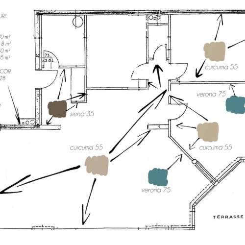 Planche tendance pour un appartement à Ranspach le Bas par Etymodéco, Décoratrice à Saint Louis en Alsace : les coloris des pièces