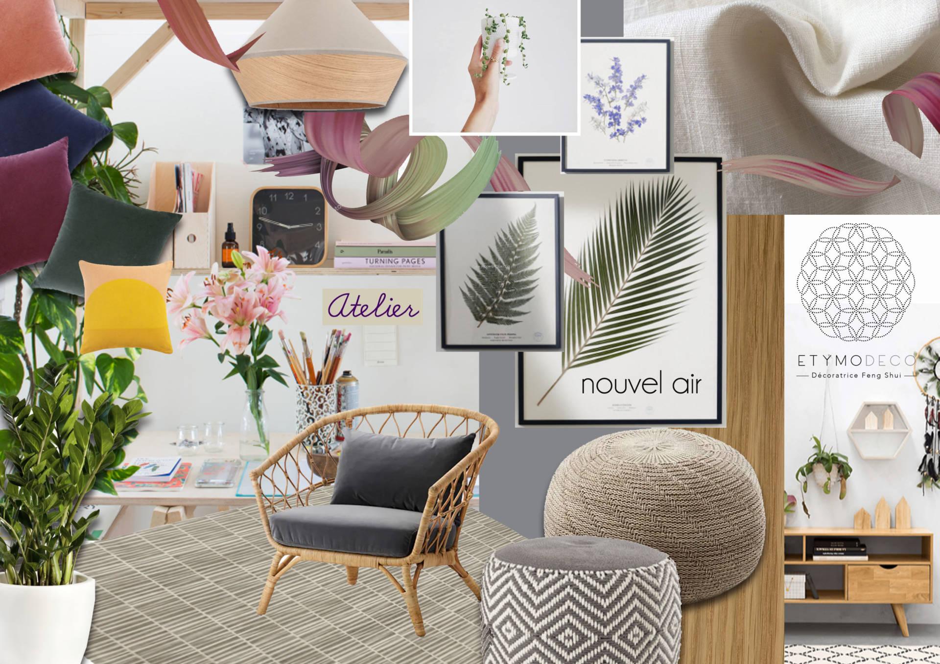 Planche ambiance atelier pour un appartement sous les toits par Etymodéco, Décoratrice à Saint Louis en Alsace